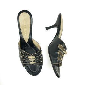 Cole Haan Black Slip On Peep Toe Heel Sandal | 6.5